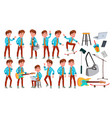 teen boy poses set adult people casual vector image