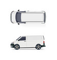 the cargo minibus side view and top view vector image vector image