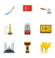 turkey equipment icons set flat style vector image vector image