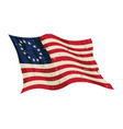waving aged betsy ross flag vector image vector image