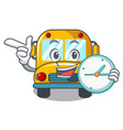 with clock school bus character cartoon vector image