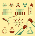 molecular elements and test tube black icons vector image
