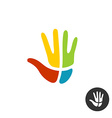 Hand with cross religion logo People faith vector image
