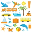 Bright cartoon travel icons vector image