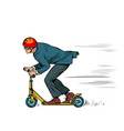 a businessman is riding a scooter vector image vector image