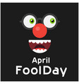 april fools day cartoon face black background vect vector image