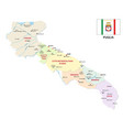 apulia administrative and political map with flag vector image