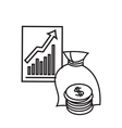 Bag of money and growth graph vector image