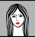 Beauty girl face sketch woman face portrai vector image