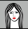 beauty girl face sketch woman face portrai vector image