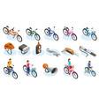bicycle isometric icons set vector image