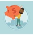 Businessman carrying big piggy bank vector image vector image