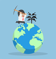 Businessman digging oil on the world vector image