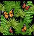 butterflies and leaves palm trees vector image vector image