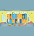 cartoon color changing room fitness inside vector image