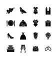 cartoon silhouette black wedding symbols icons set vector image