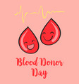 cartoon style blood donor day vector image vector image