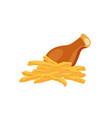 chicken and potato cartoon food icon vector image vector image