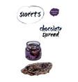 chocolate spread watercolor vector image vector image