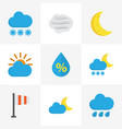 Climate flat icons set collection of sunny drop vector image