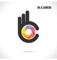 Creative hand and camera lens sign vector image vector image