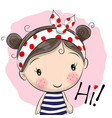 cute cartoon girl vector image vector image