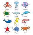 Cute hand drawn cartoon ocean animals