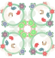 Cute seamless flower owl background pattern in vector image