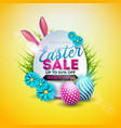 easter sale with color painted egg vector image vector image