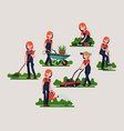 female gardener poses and activities bundle vector image vector image