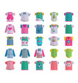 flat baby infant clothes textile icon set vector image vector image