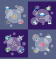 flat space icons infographic concept vector image vector image