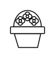 flower brush pot line icon sign vector image