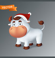 funny silver ox animal in red santas hat symbol vector image vector image
