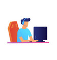 gamer in headphones playing computer games vector image