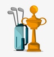 golf trophy and bag clubs vector image