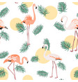 green tropical leaves pink flamingo sun moon round vector image vector image