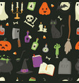 halloween carnival symbols seamless pattern icons vector image