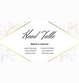 head table bride and groom template card vector image vector image