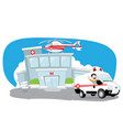 hospital with helicopter on its roof and ambulance vector image