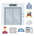hotel and equipment cartoon icons in set vector image