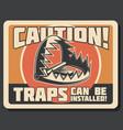 hunting trap or hunter warning signboard vector image vector image