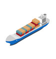 isometric shipping icon with container ship vector image vector image