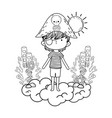 little pirate in the clouds fairytale character vector image vector image