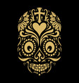 logo dia de muertos tattoo skull gold ornate vector image