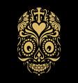 logo dia de muertos tattoo skull gold ornate vector image vector image