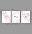 luxury cards collection with marble texture and vector image vector image