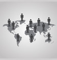 men with shadow on the world map on gray vector image vector image