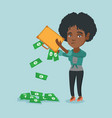 penniless woman shaking out money from briefcase vector image vector image