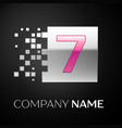 pink number seven logo symbol in the silver square vector image vector image